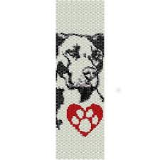 Loom Beading Patterns Simple I LOVE MY PIT BULL DOG LOOM beading pattern for cuff bracelet SALE