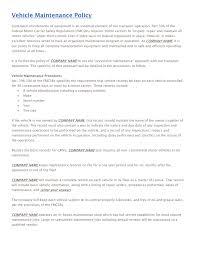 vehicles maintenance records vehicle maintenance policy