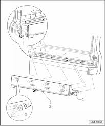 blown up diagram of t5 sliding door mechanism needed vw t4 forum gr 94 remove bolts 1 from front and rear end of cover 2 close side door not completely until the cover 2 can be removed out damage
