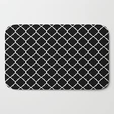 black and white moroccan quatrefoil bath mat by colorpopdesign society6