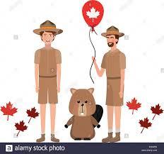 Fawn Design Canada Moose Animal And Ranger Of Canada Design Stock Vector Art