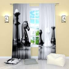 Amazon.com: Factory4me Chess Curtains Window Black and White Curtain ...