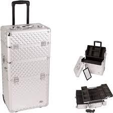 pro 2 in 1 aluminum makeup rolling train case cosmetic beauty organizer all black silver dot black diamond silver diamond back