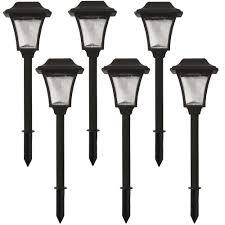 hampton bay solar powered mediterranean bronze led outdoor integrated 3000k warm white landscape path light