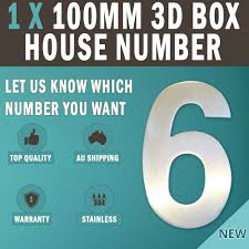 new 1 x 100 mm 3d house number letter box number 304 stainless steel