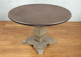 zinc top round dining table zinc top railway trestle round dining table