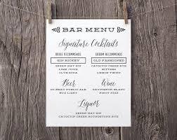 wedding drink menu. Printable Wedding Signs Custom Bar Menu Sign Signature Drinks