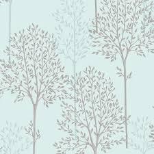 Duck Egg Spriggy Trees Wallpaper ...