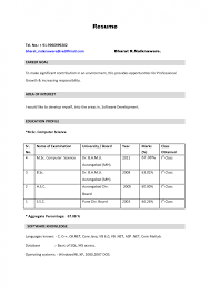 template latest resume format for freshers resume appealing resume format for mca student