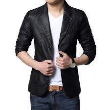 men s slim fit casual black leather blazer