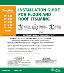 Tji 560 Span Chart Installation Guide For Floor And Roof Framing