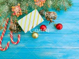 Candy Christmas Lights Candy Christmas Tree Branches Gift Box On A Blue Wooden