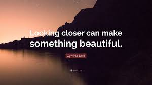 "Looking Beautiful Quote Best of Cynthia Lord Quote ""Looking Closer Can Make Something Beautiful"