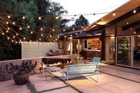 exterior home lighting ideas. Backyard Patio Idea Bulb Strings Lighting Fixtures Half Way Private Fencing System Light Blue Metal Outdoor Exterior Home Ideas D