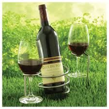 set of steady sticks outdoor wine bottle and glass holders wine