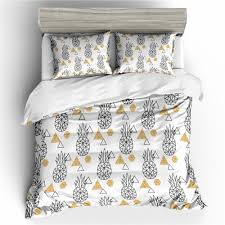 pineapple bedding geometric duvet cover set pineapple printed white black bedding set au us ru size duvet cover 1 pillow king comforter set matelasse