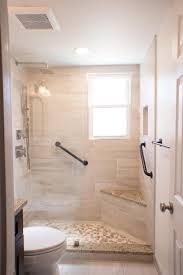 standing shower with half glass panel and corner seat