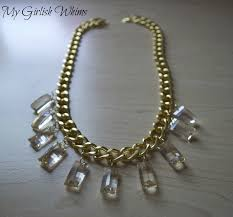 diy gold chain crystal necklace