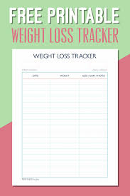 Online Weight Loss Charts Printable Weight Loss Tracker Pdf Printall