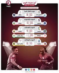 مواعيد مباريات اليوم الإثنين 13 سبتمبر 2021 والقنوات الناقلة