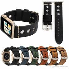 for apple watch series 4 bands matt genuine real leather band smart watch strap for iwatch 1 2 3 with big buckle clasp rubber watch straps watch leather