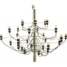 arteluce 2097 chandelier in chrome steel gino sarfatti 1950s