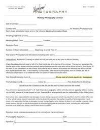 Wedding Photography Contract Form Basic Wedding Photography Contracts Photography Contract Template