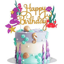 Bestus Mermaid Cake Topper Happy Birthday Cake Decoration For