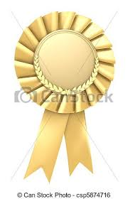 Gold Ribbon Award Blank On White