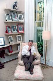 reagan oval office. President Ronald Reagan Writing A Speech In The White House Oval Office Study
