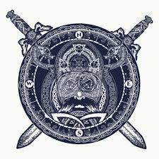 Plakát Vikingové A Zkřížené Meče Tetování Prsteny Se Skandinávským