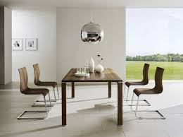astonishing modern dining room sets: astonishing contemporary dining room furniture set with wooden table and wooden chairs with silver metal base in a white painted room with apendant lamp