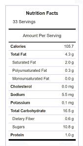 nutritional label for irish cream truffles