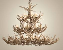 wide mule deer antler chandelier