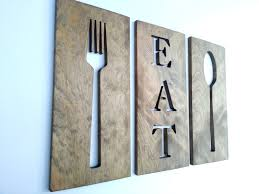 For Kitchen Art Kitchen Art Fork Spoon Knife Wooden Wall Plaques By Timberartsigns