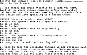 World War One(WW1)Era Song Lyrics for: Beneath The Spanish Moon-Ida Simpson  1921