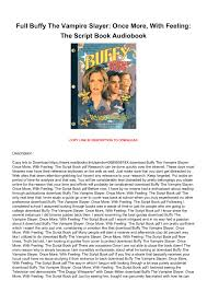 Once upon a mattress script. Full Buffy The Vampire Slayer Once More With Feeling The Script Book Audiobook Cime53 Flip Pdf Anyflip