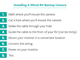 how to install a wireless wired rv backup camera location that won t block your line of sight while driving above the rear view mirror on the dash is the most common location attach the cable