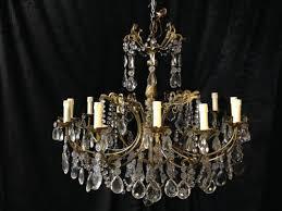 italian antique brass crystal chandelier c 1910 1 of 14