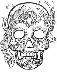 Halloween Sugar Skull Coloring Page Free Printable Calaveras Dia