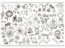 手書きイラスト花少女小動物ガーリーラインイラスト No 488288無料