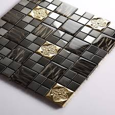 gold stainless steel tile black glass