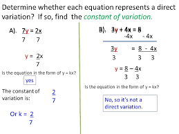 direct variation form write and graph a direct variation equation ppt download