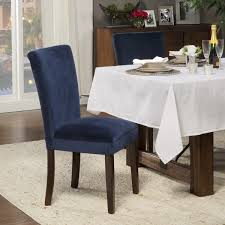 homepop clic velvet parsons dining chair dark navy blue velvet set of 2