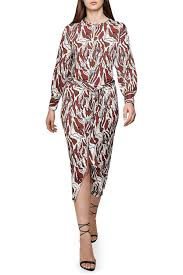 Reiss Tiger Print Keyhole Long Sleeve Dress Hautelook