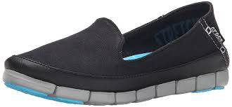 Crocs Womens Stretch Sole Skimmer Flat Black Light Grey