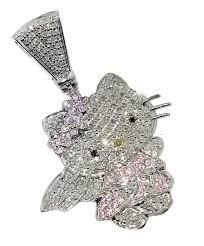 10k white gold hello kitty charm pendant custom made 1 00ctw