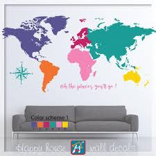 world map wall decal colorful world map