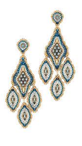 miguel ases turquoise blue beaded chandelier earring for women