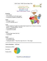 Chef Solus 1400 Calorie Menu Plan For Kids Four To Eight